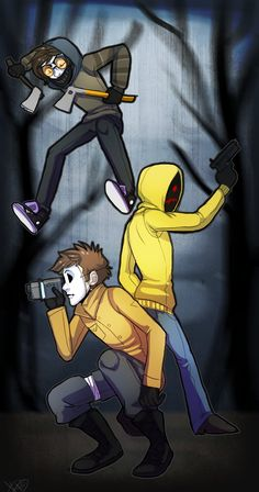 masky: I have a camera and I am not afraid to use it!Toby and hoodie tho ready to kick tail