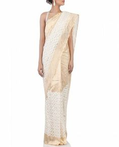Cream & Gold Sari with Woven Pattern- Buy Saris,Saris By Lara Dutta Online | Exclusively.in