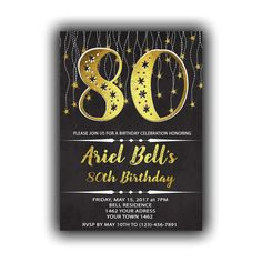 CUSTOM Gold Happy Birthday 80th Invitations Chalkboard black