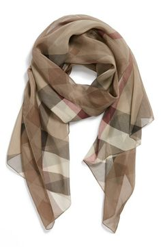 Burberry Check Print Silk Scarf