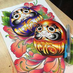 Leg Sleeve Tattoo, Leg Tattoos, Body Art Tattoos, Japanese Leg Tattoo, Japanese Sleeve Tattoos, Daruma Doll Tattoo, Traditional Ink, Japan Tattoo, Maneki Neko