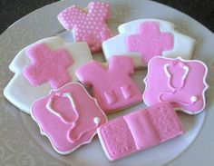 Items similar to Pink and White Nurse Themed Sugar Cookies- Set of 12 on Etsy Nurse Cookies, Cookie Designs, Cookie Ideas, Nurse Party, Best Sugar Cookies, Cut Out Cookies, Easter Cookies, Food Themes, Edible Art