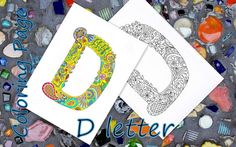 Letter D Download Coloring Page Hand Drawn Zentangle Inspired The Alphabet  Adult Coloring Page Art Relaxing Activity For Family