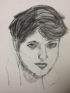 Charcoal self portrait by Wynne