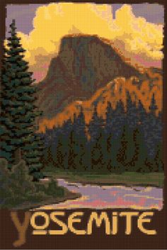 Cross stitch pattern Vintage Yosemite travel poster PDF - New EASY chart with one color per sheet AND regular chart! Two charts in one! by HeritageCharts on Etsy