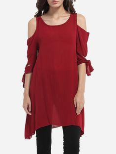 Scoop Neck Cotton Hollow Out Plain Short-sleeve-t-shirt