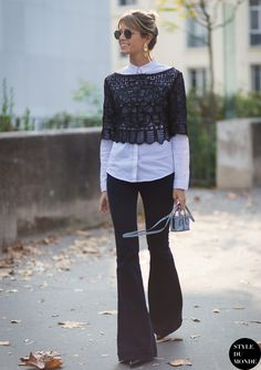 classic button down shirt with flared jeans