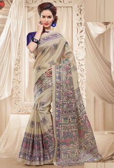 #Cream #Khadi #Silk #Printed #Saree #nikvik  #usa #designer #australia #canada #freeshipping #dress #saris