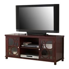 Center TV Console Stand With Glass Storage Cabinet Doors & Shelves #PilasterDesigns