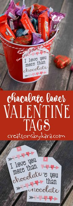 Chocolate Lover Valentine's Gift Baskets - add these free printable Valentine cards to any container of chocolate for a perfect Valentine's Day gift.