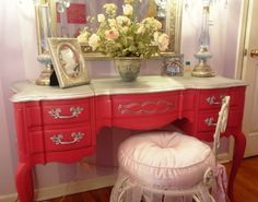 Dressing table - love the red and the chair pillow