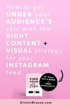 "Are you struggling to find your tribe on Instagram? And do you feel a teeny-tiny bit jealous of those 10k+ accounts that make it look so easy, and get you wondering ""What are they doing that I'm not?"" I'll tell you what they are doing differently: they have found the right audience for their brand. They have figured out exactly WHO THEIR brand is serving, HOW, WHAT and WHY. How to grow their followers and followings, how to grow their audience and their business and make sales."