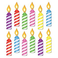Make any birthday party shine with Mini Birthday Candle Cutouts. Each pack contains 12 brightly colored cardstock birthday candle cutouts. Birthday Clips, Birthday Party Snacks, Birthday Party For Teens, Happy Birthday Cards, Birthday Party Decorations, Free Birthday, Birthday Bulletin, Mini Candles, Happy B Day