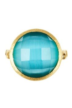 18K Gold Clad Bold Round Faceted Blue Cat's Eye Ring