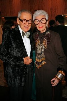 Legendary tastemaker, fashion and style icon Iris Apfel with her husband, Carl.