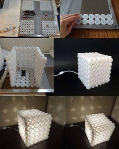 Table lamp from plastic lids - Επιτραπέζιο φωτιστικό απο καπάκια πλαστικά | Smile Greek
