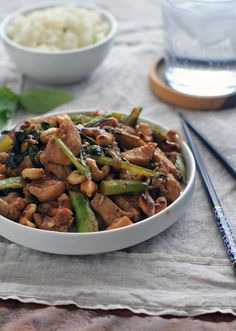 Chicken with Chinese Broccoli, Thai Basil and Cashews - Girl Cooks World