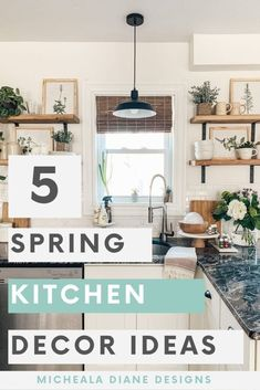 Come join my Spring kitchen decor tour. Simple and easy Spring kitchen decor ideas that will have you dreaming of warmer weather. Spring Kitchen Decor, Kitchen Decor Items, Farmhouse Kitchen Decor, Vintage Farmhouse, Farmhouse Design, Kitchen Ideas, Farmhouse Light Fixtures, Farmhouse Lighting, Decorating Your Home
