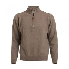A soft lambswool zip in a camel coloured wool. These jumpers are a regular fitting garment. Features include - tonal wolfhound embroidered on the chest and leather tab on zip. Mock Neck, Casual Wear, Zip Ups, Menswear, Wolfhound, Neck Design, Pullover, Sweatshirts, Sweatshirt