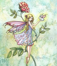 Rose's Friend - Fairy and Tiny Bunny Fantasy Art - Archival Print by Molly Harrison