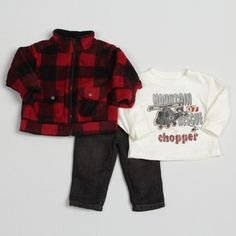 @Overstock - Dress your little guy in this stylish three-piece set from Kids Headquarters. A plaid jacket, long-sleeve shirt and denim pants complete this set.   http://www.overstock.com/Clothing-Shoes/Kids-Headquarters-Infant-Boys-Plaid-3-piece-Set-FINAL-SALE/7217862/product.html?CID=214117 $25.99