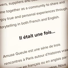 Nous serons at the inaugural Amuse Gueule storytelling event featuring various movers and shakers in the Paris food scene. Venez!  Tickets/info: amusetagueule.com