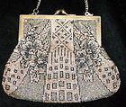 ART DECO FLORAL VINTAGE Ornate GOLD & BLACK IRIDESCENT Micro Beaded Evening Bag