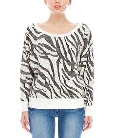 Love this Off-White Zebra Boatneck Sweater on #zulily! #zulilyfinds