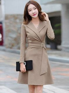 Street Notched Belted Skater Dress - Outfits for Work Women's Dresses, Cute Dresses, Dress Outfits, Short Dresses, Fashion Dresses, Dresses For Work, Skater Dresses, Fashion Coat, Trendy Dresses