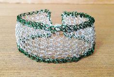 Silver and green crochet bracelet.Crochet wire cuff bracelet. Green bracelet Knitted bracelet.Magnetic clasp.Wire jewelry Christmas jewelry