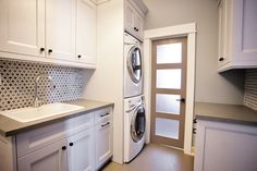 Stacked Washer and Dryer, Contemporary, laundry room, Madison Taylor Design