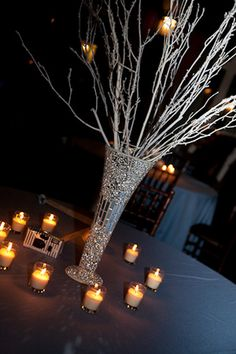 Atlanta Winter Wedding at Piedmont Park Tree Branch Centerpieces, Winter Wedding Centerpieces, Centerpiece Ideas, Table Decorations, Silver Centerpiece, Wedding Decorations, Wedding Night, Our Wedding, Wedding Things