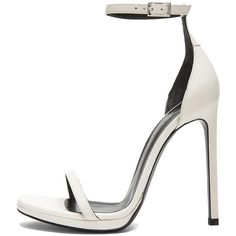 Saint Laurent Jane Leather Ankle Strap Sandals in White found on Polyvore