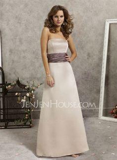 Bridesmaid Dresses - $104.99 - Amazing A-Line/Princess Strapless Floor-Length Satin Bridesmaid Dress with Ruffle (007001774) jenjenhouse.com