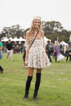 Festival Fashion At Outside Lands. LOVE DIS. well the boots and socks mostly, oh and headband