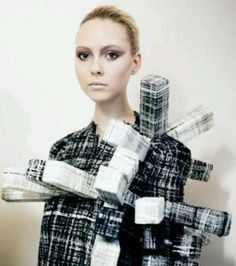 Architectural Fashion - sculptural dress with 3D blocks made with recycled textiles; fashion as art // Hellen Van Rees