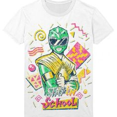 Stay in School Power Rangers Green tee Shirt Apparel | IdolStore