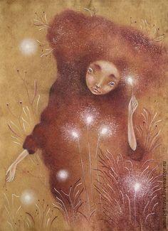 Зажигая Огоньки... Картина пастелью. Фэнтези. Волшебница.. Сквозь светлые травы, теплые шорохи...  Зажигая огоньки...      Картина выполнена пастелью в авторской технике на живой фактурной природной бумаге ручного отлива мастера Aksalk Бумага состаренная, в винтажном стиле.