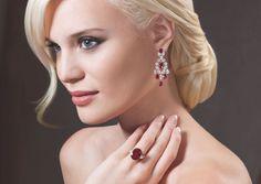 Ruby Ring & Earrings   Oval Burmese Ruby Ring 12.8 Cts. with 2.2 Cts Pear shape Diamond Shoulders      Burmese Ruby & Diamond Earrings - Rubies 8.27 Cts. and 8.97 Cts. Diamonds #orlovjewelry #jewelry #orlov #diamond #luxury #fashion #jewellery #ruby #sapphire #emerald #earrins #rings #bracelets #necklace #girl