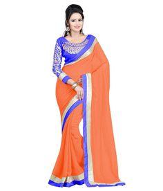Chiffon Lace Work Orange Plain Saree - Y11297 at Rs 799