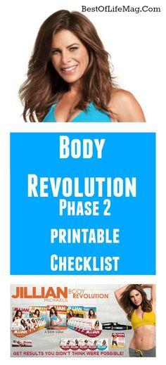 Jillian Michaels Workout Rotation Printable Checklist - Body Revolution Phase 2