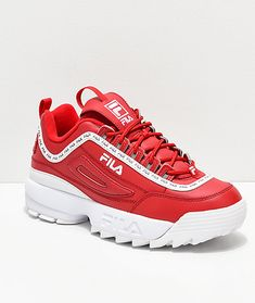 d1f9d11a8c5 FILA Disruptor II Logo Taping Red Shoes Red Sneakers Outfit