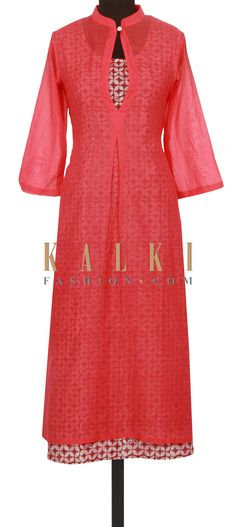 Pink coral and blue kurti in floral print only on Kalki