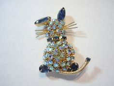 Vintage Weiss Signed Blue Rhinestone Cat Brooch Pin | eBay