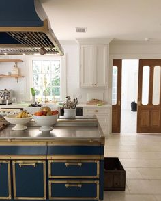 Navy Kitchen With Gold Trim