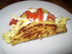 Dukan Diet Recipes Breakfast Tacos... Cruise PV Tortillas: 1 large head of cauliflower, chopped finely food processor.. 2 eggs.. 2 T oat bran.. 2 T Nutritional Yeast.. a dash of cayenne pepper.. salt and pepper.. Filling: 4 eggs, beaten.. 1/2 cup low fat sausage (Jimmy Dean's Turkey sausage).. 1 plum tomato, seeded chopped.. 1 small jalapeno, seeded chopped.. 2 T cilantro, chopped.