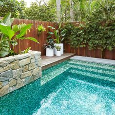Astounding 15 Awesome Backyard Pool Design Ideas The backyard area is generally used as an outdoor relaxing area. Some choose to make a terrace gazebo fish pond to a swimming pool. Backyard Pool Landscaping, Backyard Pool Designs, Small Backyard Pools, Small Pools, Swimming Pools Backyard, Swimming Pool Designs, Landscaping Ideas, Small Garden With Pool Ideas, Landscaping Blocks