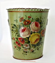 Hand painted floral waste basket. Perfect for a cottage or Shabby Chic home! #cottagestyle #shabvbychic