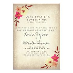 Wedding Invitations Verses. See More. Christian Bible Verse Rustic Country  Floral Card