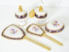 Vintage Porcelain Dresser Set Italy by GrandVintageFinery